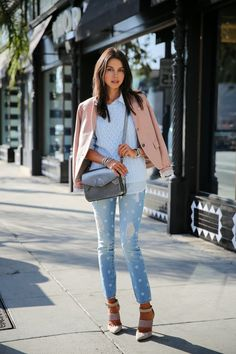 A Gap sweater, shirt, blazer, and jeans as featured on the blog VIVALUXURY.