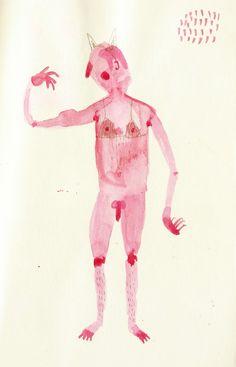 """""""Débil devil"""" Watercolor on old paper. 10x15cmts"""