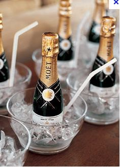 individual mini champagne bottles to celebrate while getting ready