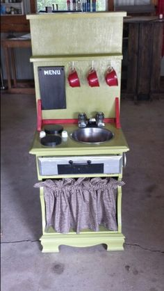 Diy kids kitchen made from a night stand