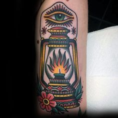 Gentleman With Old School Lantern Traditional Inner Forearm Tattoo