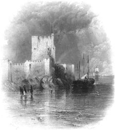 """In honor of St. Patrick's Day, nineteenth-century illustrations of the Irish countryside from """"Ireland: Picturesque and Romantic."""" Pictured: Carrickfergus Castle."""