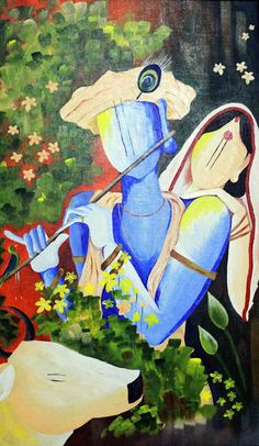 hues n tints: Ambrosial Love - Radha Krishna Worli Painting, Acrylic Painting Canvas, Canvas Artwork, Indian Art Paintings, Modern Art Paintings, Abstract Paintings, Oil Paintings, Landscape Paintings, Krishna Painting