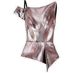 Roland Mouret Holmas one-shoulder lamé peplum top (227.655 CLP) ❤ liked on Polyvore featuring tops, purple, purple peplum top, roland mouret, zipper peplum top, zip top and one shoulder tops