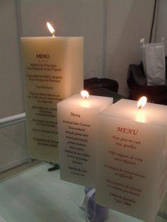 Bougie-menu pour mariage - Alcante