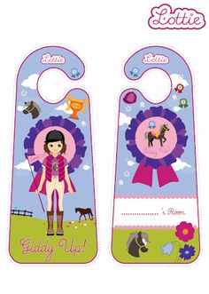 Pony Flag Race Lottie doll door hangers for kids #free #printables Download at www.lottie.com/create/