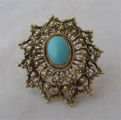 Topazio Portugal Filigree Sterling Pin Turquoise Glass Cabochon