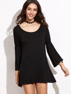 Shirt Kleid 2017 mit Glockenärmel in Schwarz