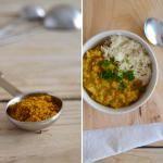 Caril de lentilhas e batata-doce com leite de coco