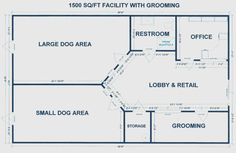 The large/small dog areas would be broken up differently for boarding, but this is a good set up for a small area. Good considering I'm planning on about 2000 sq ft.