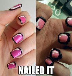 Nail art fail...<--- this looks like a nail art win. The paint on your hand will scrape off, leaving a pretty good looking set of nails