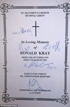 ronnie kray auction | ... Kray is also going under the hammer in the auction of rare Kray items