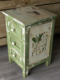 """Miss Mustard Seed """"Lucketts Green"""" and """"Grain Sack"""". Nightstand with drawers, dresser bedside hallway entryway cabinet, vintage…"""