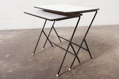 MATEGOT STYLE NESTING TABLES  Set of 2 Zig Zag Nesting Tables with Formica Top and Wire Frame. Size: 20.75 x 13 x 18.75