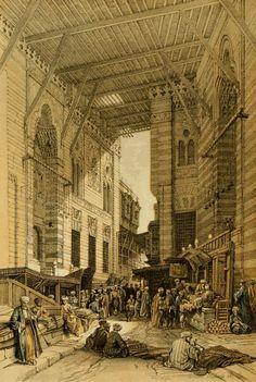 :::: PINTEREST.COM christiancross :::: Roberts, David (1796-1864) - The Holy Land 1855, The silk-mercer's bazaar, Cairo. #egypt