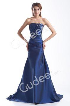 navy blue beaded satin floor length strapless trumpet prom dress from gudeer.com