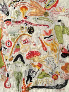 Jillian Tamaki's hand embroidered monster quilt.