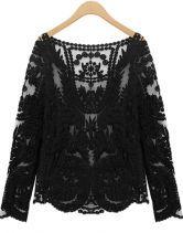 #SheInside Black Long Sleeve Hollow Crochet Lace Blouse $25
