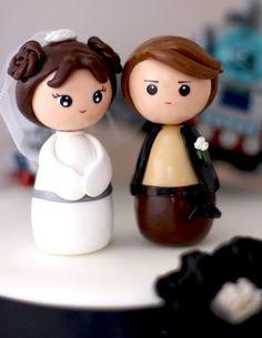 Estilo de wedding cake toppers princesa Leia Han Solo por Chikipita