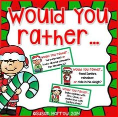 Let your kiddos have fun answering these Would You Rather? Christmas scenarios. This is a great activity to help your students practice Opinion Writing. Would You Rather. Includes 33 Would You Rather cards, an I Would Rather Opinion writing planning sheet, and 4 writing response sheets.