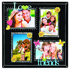 Fun word magnets add a colorful touch to magnetic chalk board displays.  Change out magnets and photos from spring, summer, fall and winter.  Fill in captions and design details with chalk markers.  Love, Friends, Butterfly, Heart  and Flower Magnets and Chalkboard Memo Board from Embellish Your Story by Roeda.