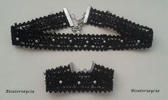 Bisuteriaycia: Gargantilla y pulsera de encaje y perlas