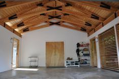 Scissor Truss Home Design Decorating and Renovation Ideas on Houzz Australia Exposed Trusses, Roof Trusses, Shed Design, House Design, Scissor Truss, Roof Truss Design, Wood Truss, Open Ceiling, Raked Ceiling