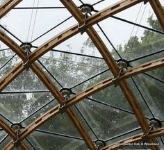 Our most challenging timber frame gridshell to date was created for a existing structure. A Wood Award winner this gridshell is a feat of engineering. Detail Architecture, Timber Architecture, Dome Structure, Timber Structure, Le Ranch, Oak Frame House, Roof Detail, Dome House, Glass Facades