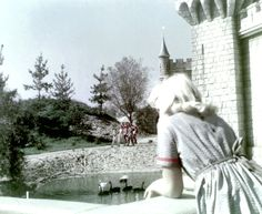 Young lady overlooking the black swans in the castle lake Disneyland Opening Day, Vintage Disneyland, Black Swan, Swans, Disney Parks, Christmas Cards, Castle, Outdoor, Sunday