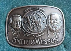 Vintage Smith & Wesson Guns Belt Buckle 1852-1977 125 Year Anniversary Edition