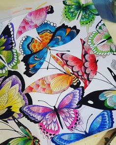 Finished my butterflies  #tropicalworld #adultcoloringbook #colouring…