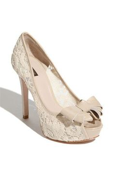 """The Joan & David """"Cutie"""" Pump... another potential wedding shoe.  Maybe with crystals added to the bow?"""