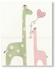 Nursery art print, nursery decor, baby nursery print, kids art, kids room decor, nursery wall art, Giraffe, I Love You Mommy 8x10 print. $14.00, via Etsy.