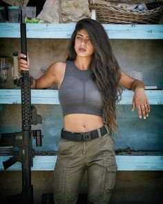 Warrior Girl, Warrior Women, Beautiful Nature Pictures, Military Women, Crop Tops, Female, Lady, Shooting Gear