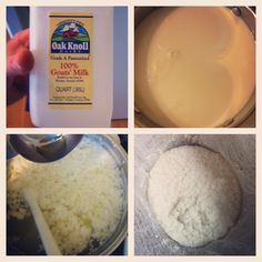 GOAT CHEESE: 1quart goats milk, 2T cider vinegar, salt to taste. Heat milk to 180 stirring continuously.shut off heat and slowly drizzle the vinegar into the hot milk while stirring. When the curds and whey separate, strain into a cheesecloth lined colander. Drain. Add salt.