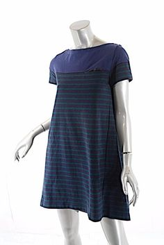 ea8a06f46ae SACAI LUCK Blue Green Cotton Stripe S S T-shirt Dress w Longer Rear Hem -  Sz M. Striped ...