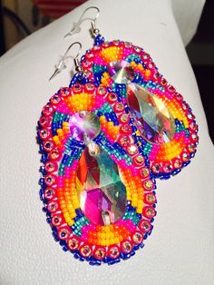 Native American Beaded Earrings: long set on Etsy, $40.00