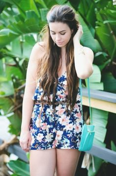 Summer style, floral romper, wrap romper, Bellami hair extensions, fashion blogger