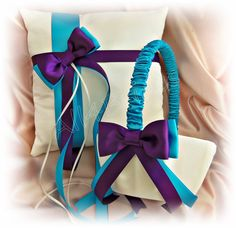 Purple plum and turquoise wedding ring bearer pillow by All4Brides