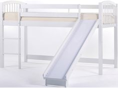 Provide your child's bedroom with a lot of open space by adding this loft bed to the decor. The piece carries a pecan, white, chocolate and cherry finish and features a side railing to prevent falling as well as gently arched headboard and footboard, which each carry spindles. In addition, the ladder creates easy access up and down the bed while the slide creates a fun way to come down.Functional and fashionable, this junior loft bed is sure to please.