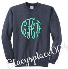 monogrammed sweater, monogrammed sweatshirt, monogrammed shirt, personalized sweater, heathered navy
