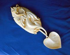 Celtic Dragon Wooden Spoon Hand Carved Welsh Love Spoon Folk Art Wedding Gift…