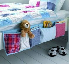sewing idea: bed storage for boys room/kids room. love this idea its cute for decor and some/minimal storage! Easy Sewing Projects, Sewing Hacks, Sewing Crafts, Diy Projects, Sewing Ideas, Sewing Tutorials, Sewing Tips, Free Sewing, Diy Crafts
