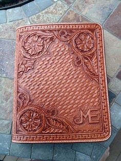 Hand tooled leather Ipad case by FeatherRiverLeather on Etsy, $165.00