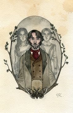 Since I painted Heathcliff on his own, I realized that I had never painted Mr. Rochester on his own either. I wanted to remedy that. I knew that I had t. Rochester and his Brides Jane Eyre Bbc, Jane Austen, Jane Eyer, Magic Magic Magic, Bronte Sisters, Charlotte Bronte, Fairytale Art, Gothic, Classic Literature
