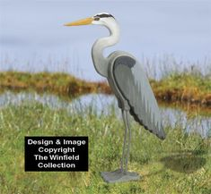 3D Life-Size Blue Heron Wood Pattern