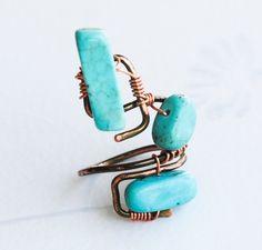 Turquoise Stones Wire Wrap Adjustable Handmade OOAK Martian Art Ring #Jeanninehandmade