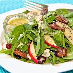 Delghtful with grilled chicken, add a loaf of warm crusty bread for a fabulous, light dinner every one will love! Autumn Salad with Apples, Maple Sea Salt Pecans and Dijon/Maple Vinaigrette