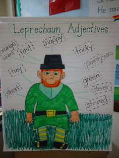 Leprechaun Adjectives... Great idea for preteaching prior to a Leprechaun writing activity...