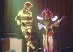 David Bowie in a leotard and matching thigh-high leggings in 1973